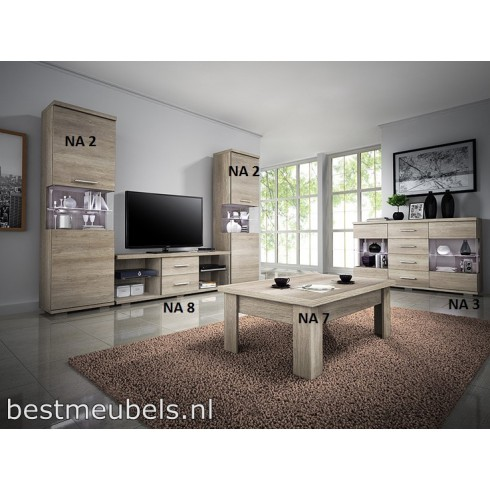 Complete woonkamer NIVORA Systeem A, incl. LED verlichting Complete ...