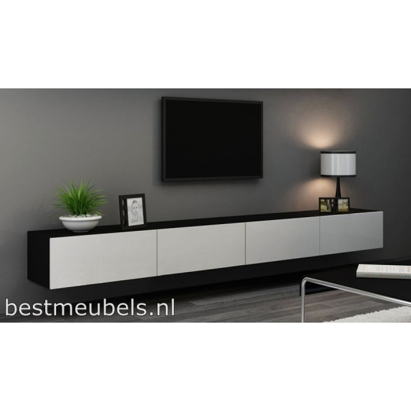 Verdi 11 280cm zwevend tv meubel tv kast hoogglans verdi for Tv dressoir hoogglans wit