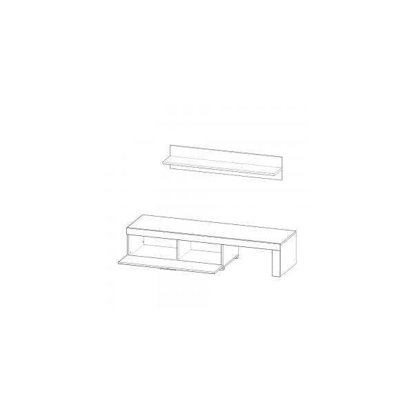 Keuken Wandplank Met Verlichting : Led verlichting woonkamer : FALK met LED verlichting + wandplank Tv