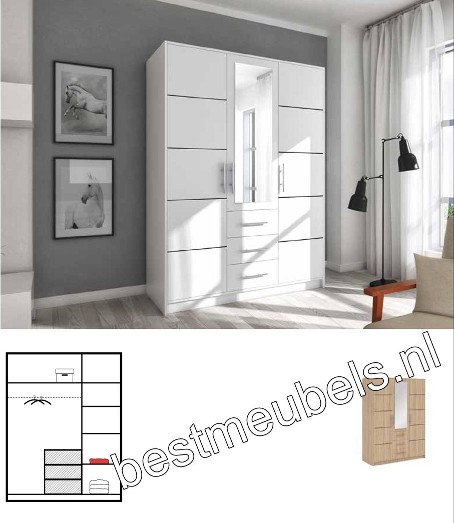 garderobekast met draaideuren spiegel en drie laden