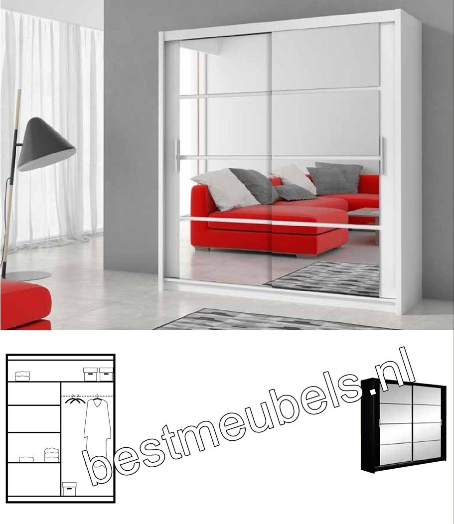 moderne kledingkast met schuifdeuren en spiegel