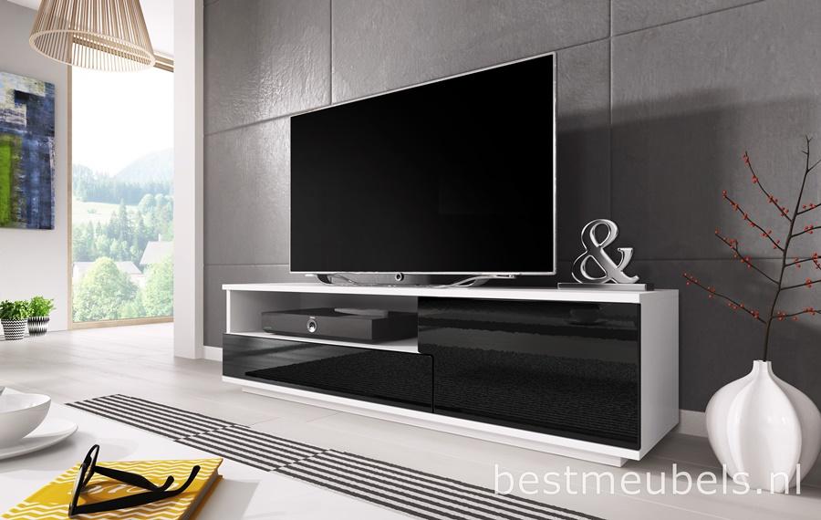 Tv Kast Zwart Wit.Mink Tv Meubel Hoogglans Wit Zwart Tv Kast Sale Home Best