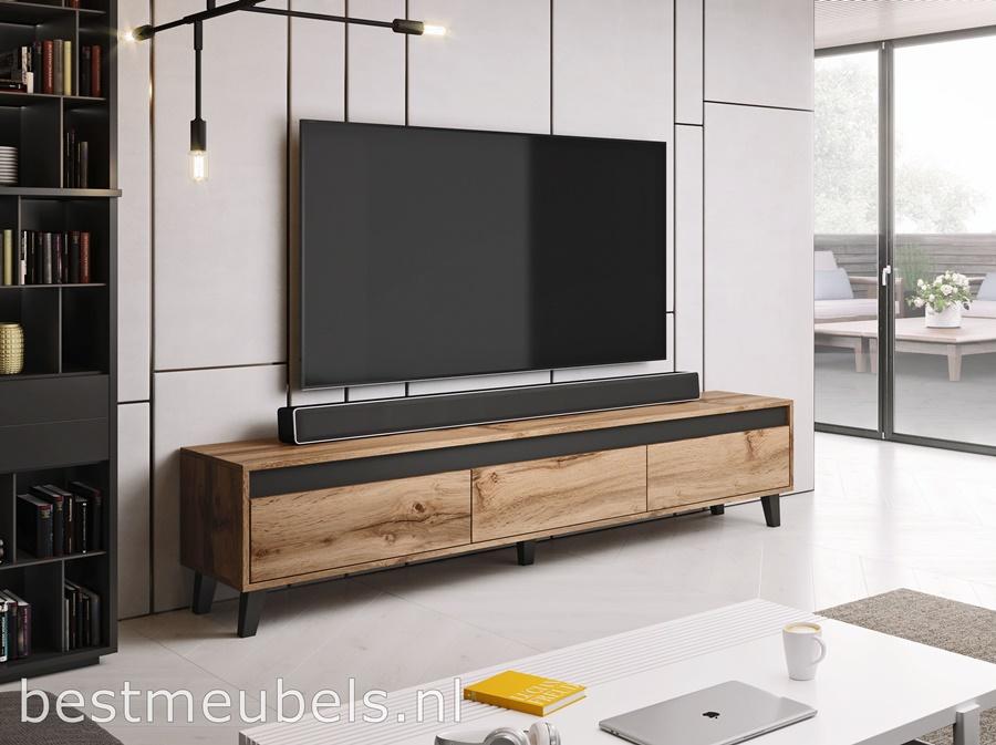 Goedkope Tv Kast.Nave 185 Cm Tv Meubel Eiken Wotan Tv Kast