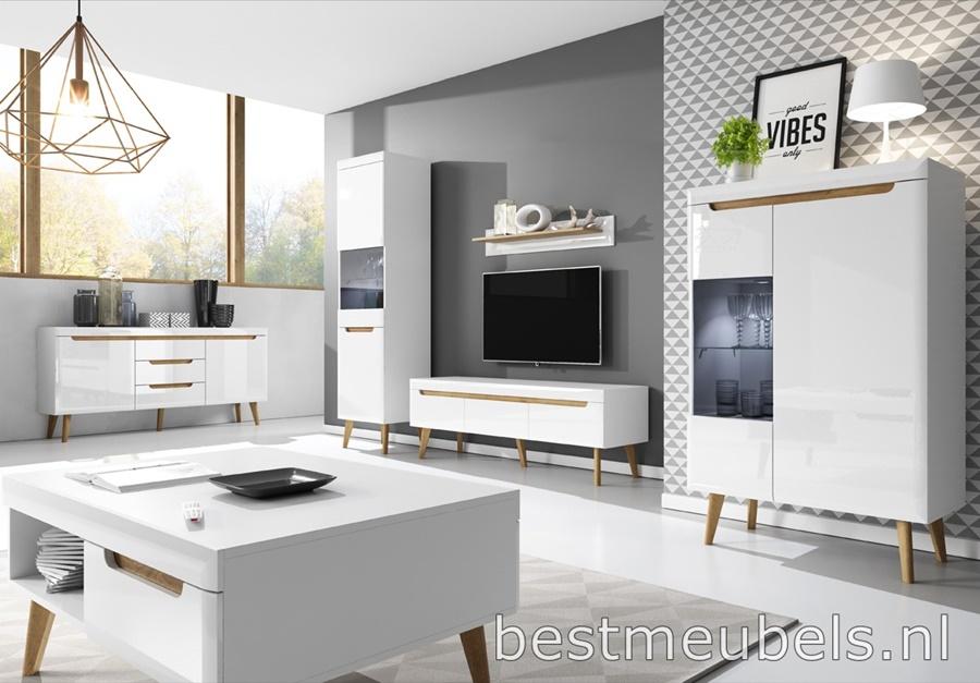 Volledige Woonkamer Set : Nolan complete woonkamer hoogglans wit