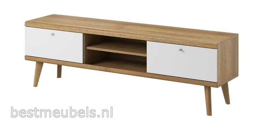 hout tv-meubel, wit tv-kast padi