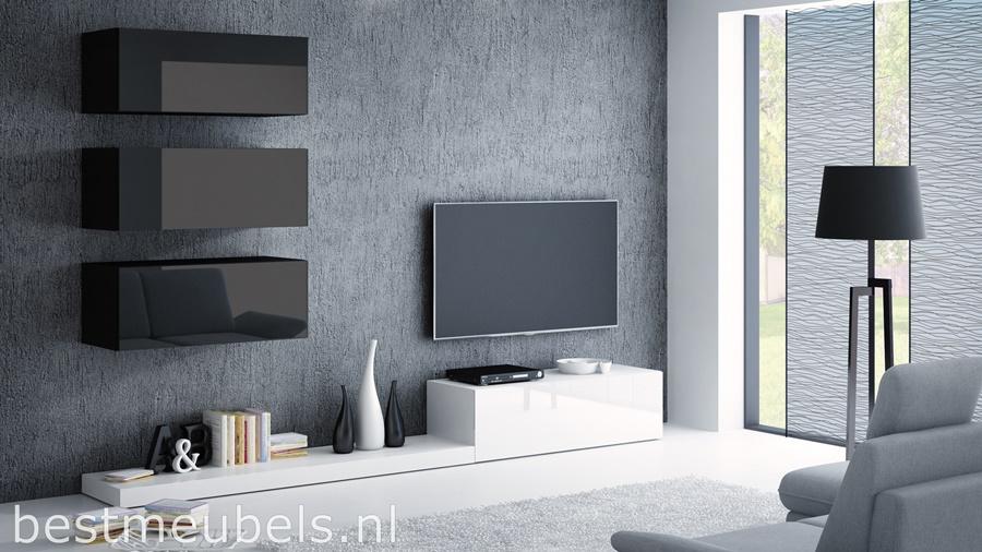 Tv Kast Zwart Wit.Peri 3 Tv Wandmeubel Hoogglans Wit Zwart Tv Wandmeubels