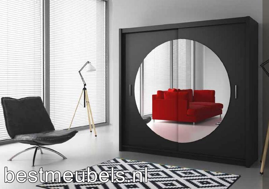 Zwarte Ronde Spiegel : Schuifdeurkast met spiegel