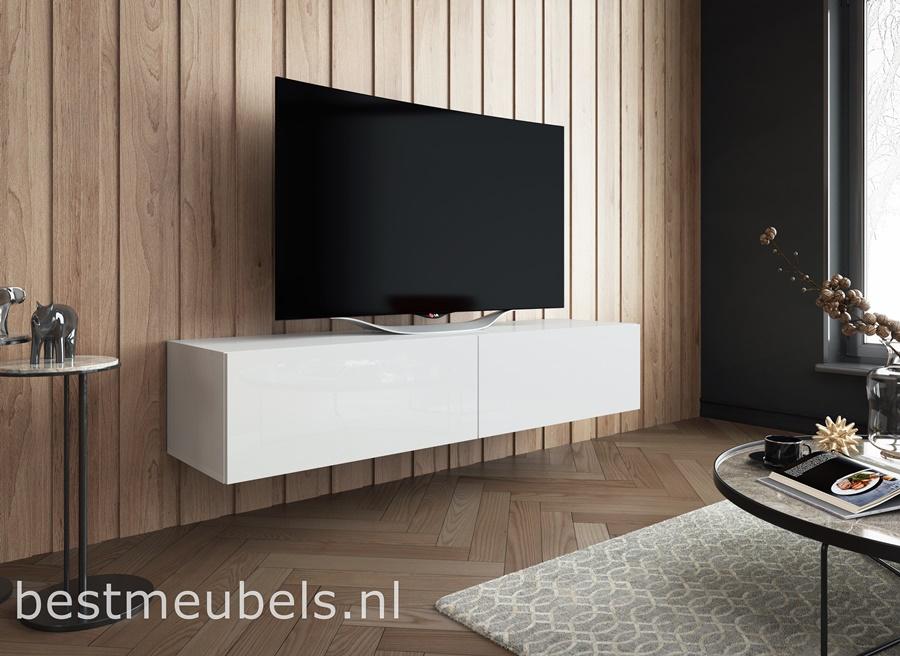 Kast Onder Tv.Sibbe 150 Cm Zwevend Tv Meubel Hoogglans Wit Zwevende Tv Meubels
