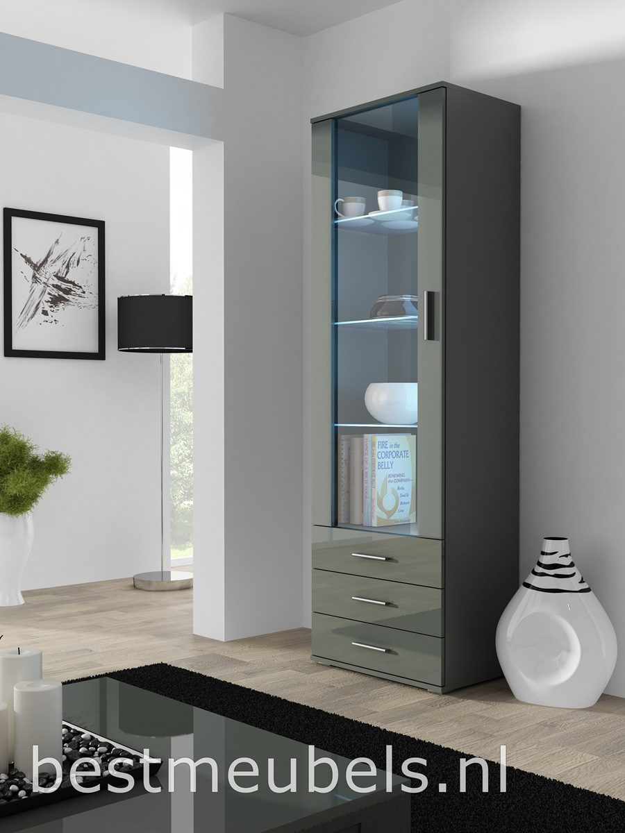 vitrinekast led hoogglans grijs woonkamer complete