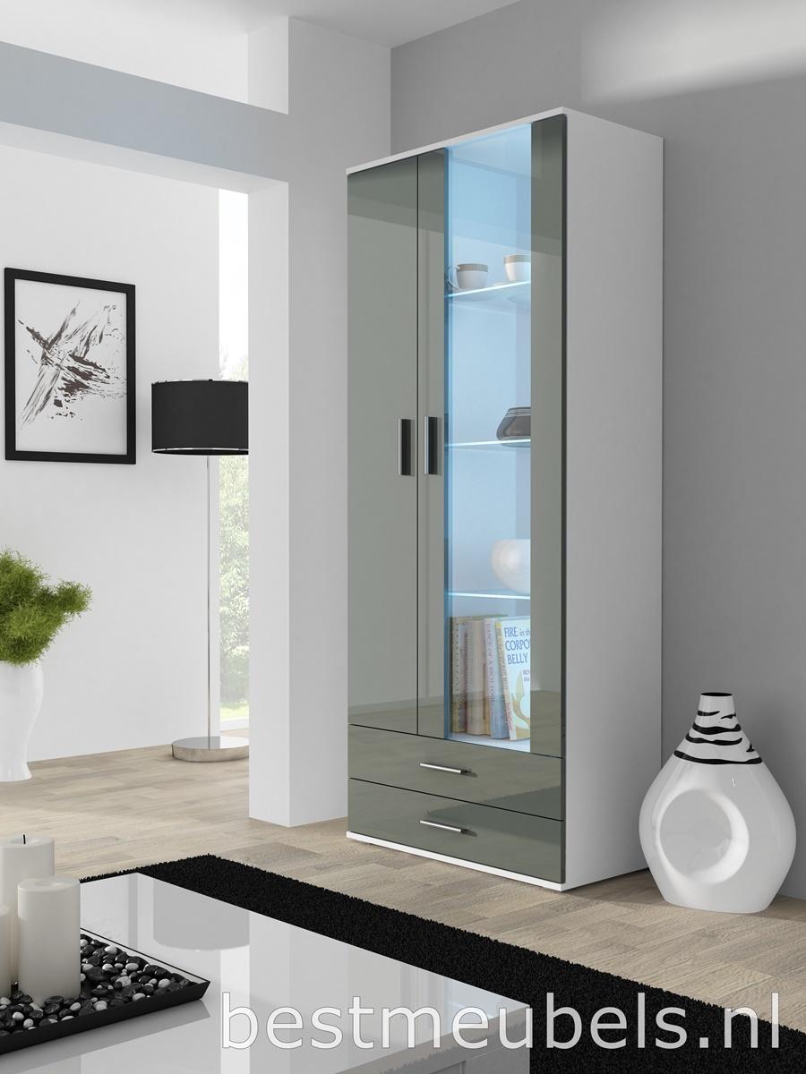 vitrinekast led hoogglans grijs woonkamers