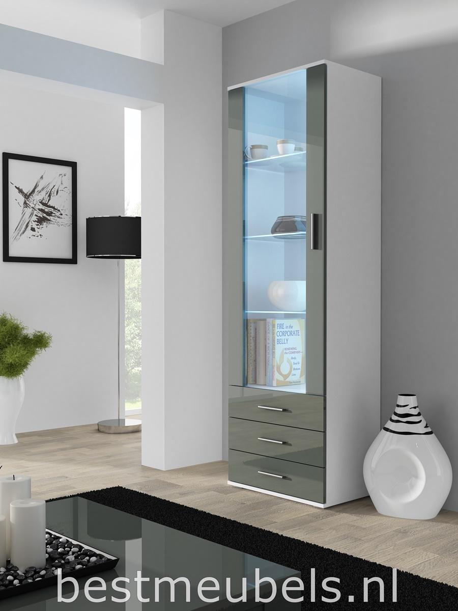 vitrinekast led hoogglans grijs woonkamer