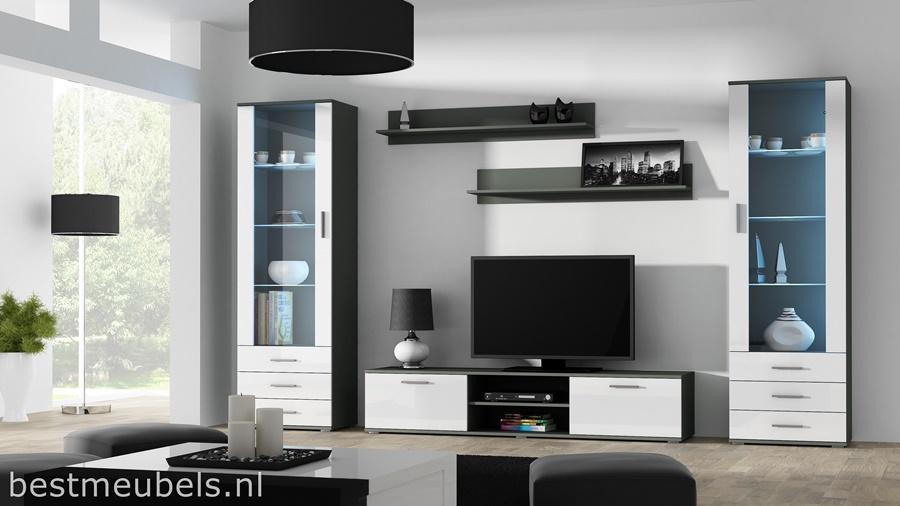 tv-kast hoogglans wit wandmeubel