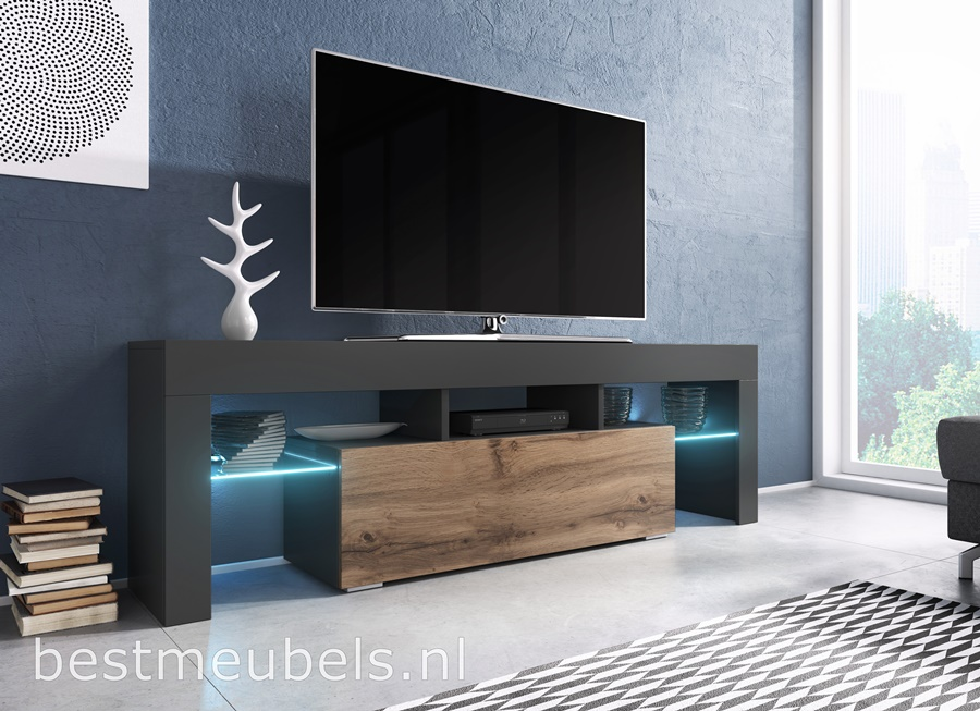 tv-meubel antraciet wotan tv-kast glas led woonkamer