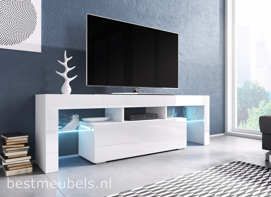tygo tv meubel hoogglans wit zwart tv kast. Black Bedroom Furniture Sets. Home Design Ideas