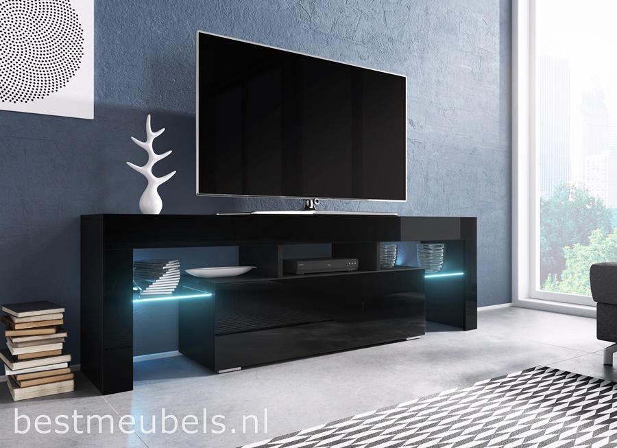 Tv Meubel Zwart Hoogglans.Tygo 138 Cm Tv Meubel Hoogglans Wit Zwart Tv Kast Direct Uit