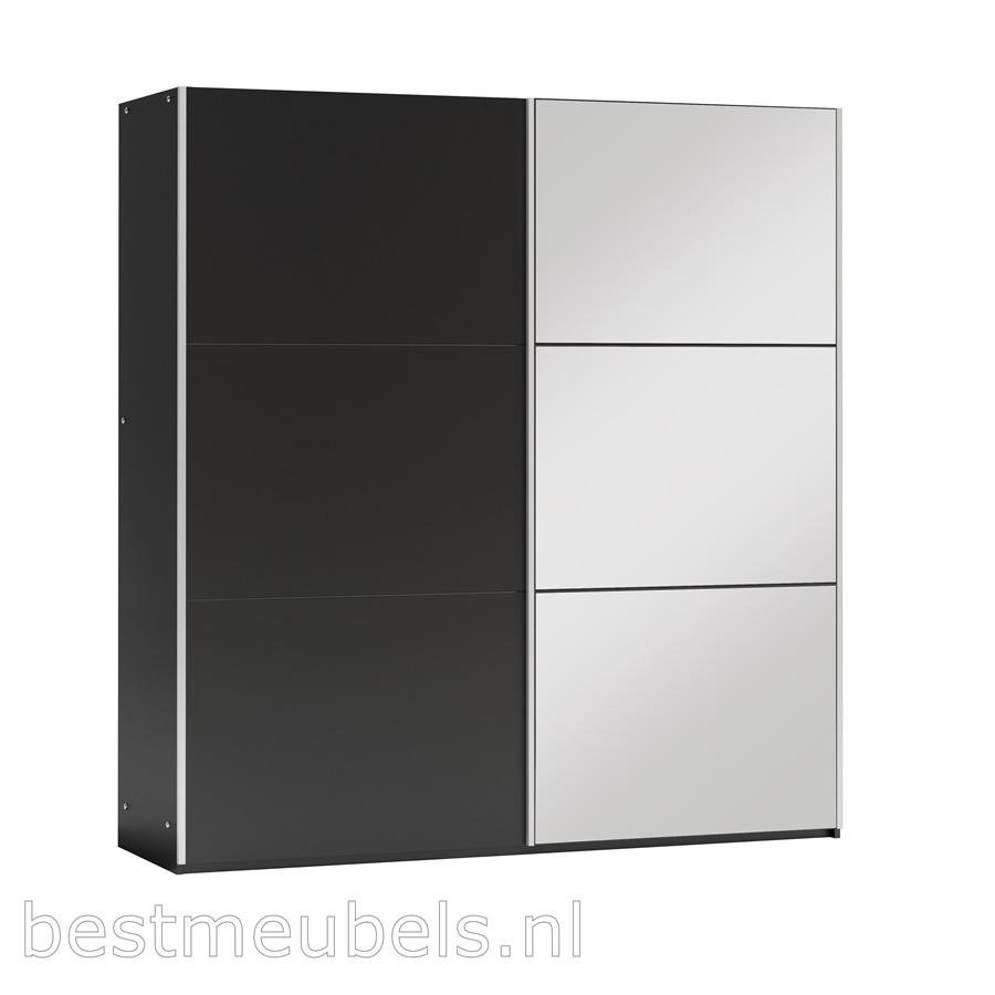 kledingkast spiegel schuifdeurkast schuifdeuren wit grijs zwart