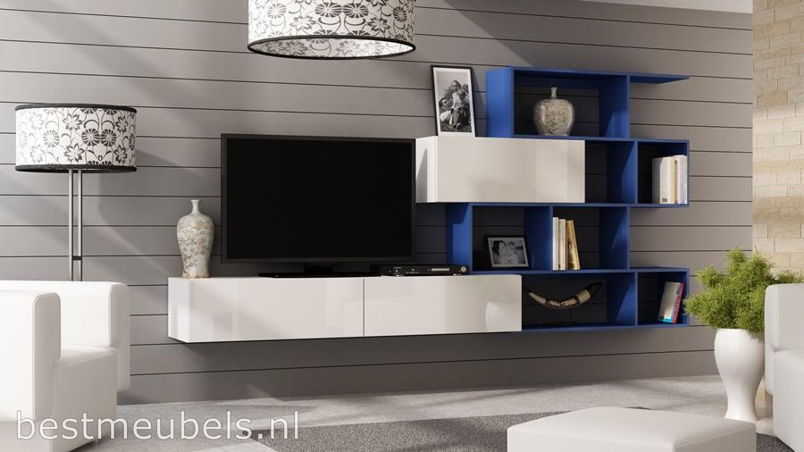 verdi tv-meubel, tv-kast hoogglans wit, hoogglans zwart, wandmeubel, boeken kast