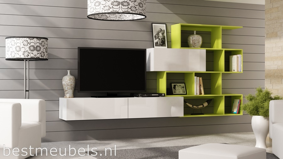 verdi LIME GROEN tv-meubel, tv-kast hoogglans wit, hoogglans zwart, wandmeubel, boeken kast