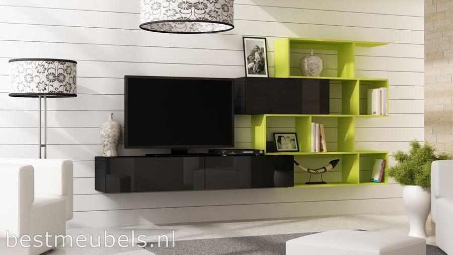verdi  GROEN tv-meubel, tv-kast hoogglans wit, hoogglans zwart, wandmeubel, boeken kast