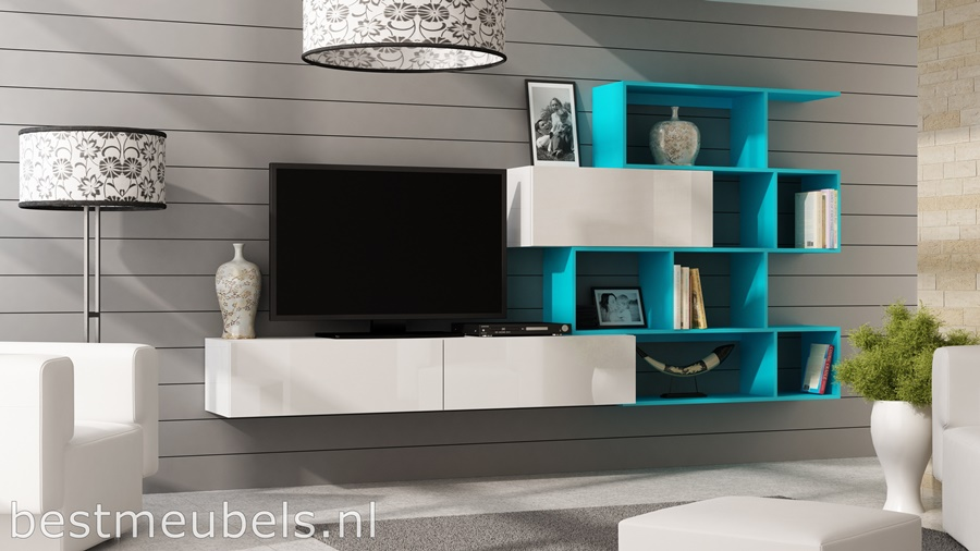 verdi lichtblauw tv-meubel, tv-kast hoogglans wit, hoogglans zwart, wandmeubel, boeken kast