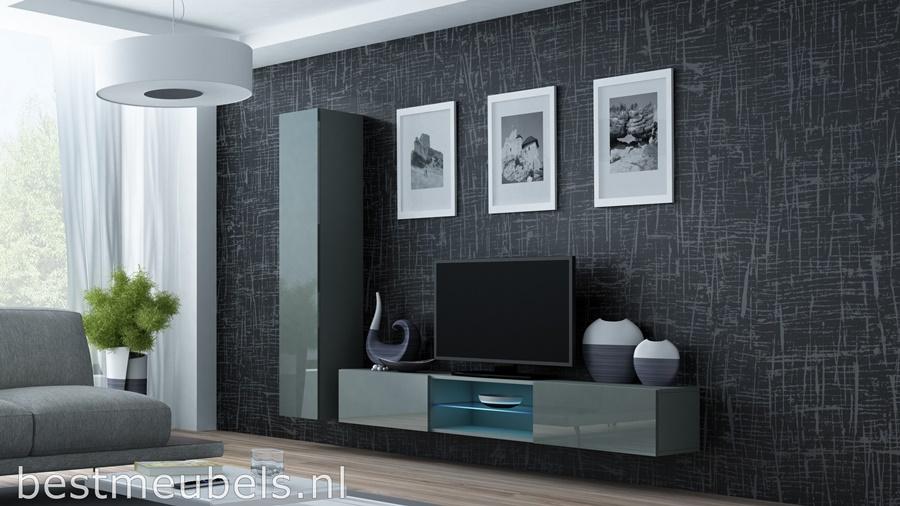 woonkamer hoogglans grijs tv-meubel bm