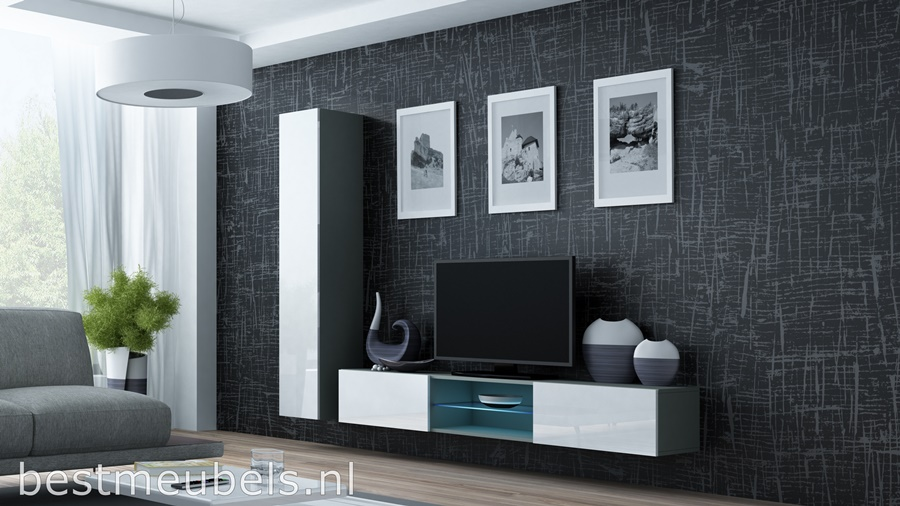 tv-kast hoogglans grijs wandmeubel