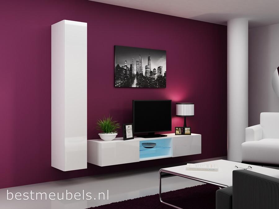 zwevend tv-kast met led verligting, hoogglans wit tv-meubel, hangende wandmeubel, best meubels, goedkoop tv-kat