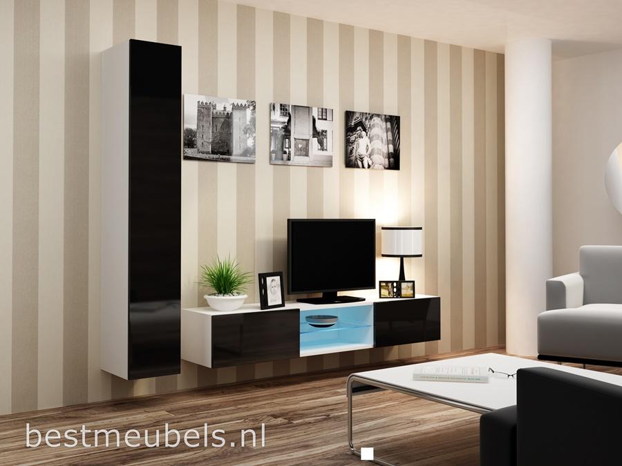 woonkamer hoogglans zwart tv-meubel