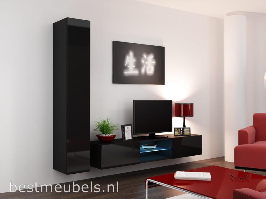 design tv-meubel, hoogglans zwart tv-kast zwevend wandmeubel