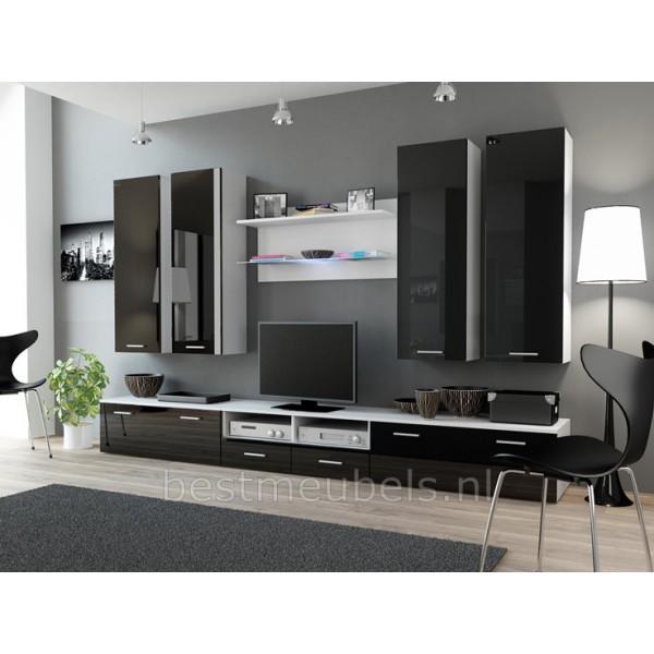 Wandmeubel tv meubel denver 3 hoogglans denver tv for Muebles modernistas