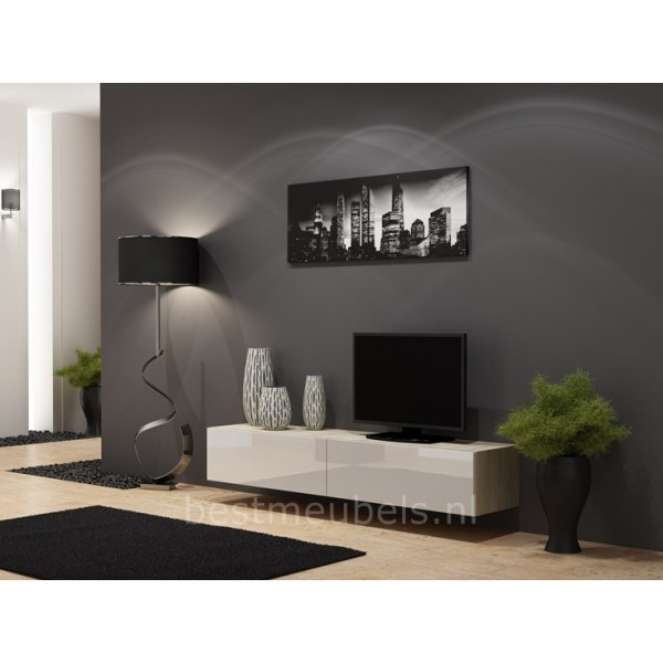 Tv Kast Hangend.Zwevend Tv Meubel Tv Kast Hoogglans Verdi Tv Wandmeubels Best