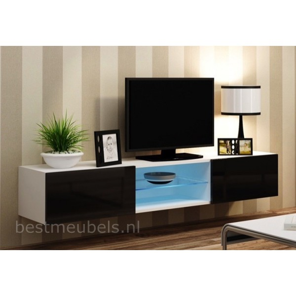Verdi 10 nieuw 180cm zwevend tv meubel tv kast hoogglans for Meubel sale