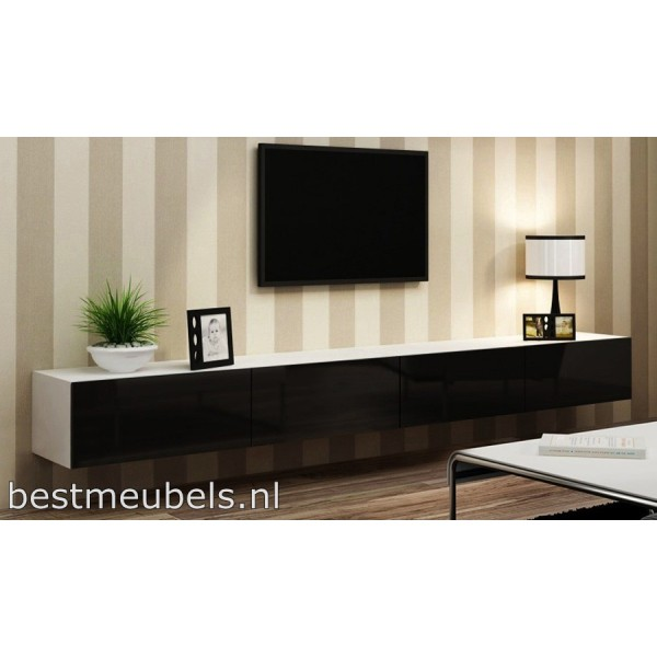 verdi 11 280cm zwevend tv meubel tv kast hoogglans verdi tv wandmeubels best. Black Bedroom Furniture Sets. Home Design Ideas