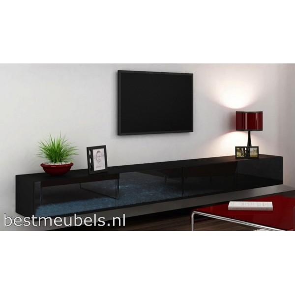 Tv Meubel Zwart Hoogglans.Verdi 11 280cm Zwevend Tv Meubel Tv Kast Hoogglans Zwevende