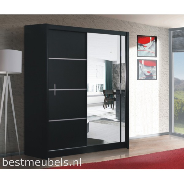 vitessa 180 cm schuifdeurkast met spiegel schuifdeurkasten. Black Bedroom Furniture Sets. Home Design Ideas