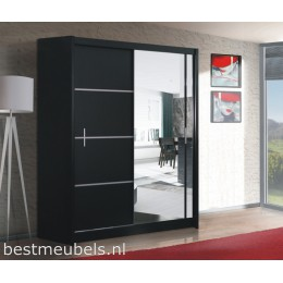 VITESSA 203 cm  Schuifdeurkast met spiegel, Wit, Zwart.