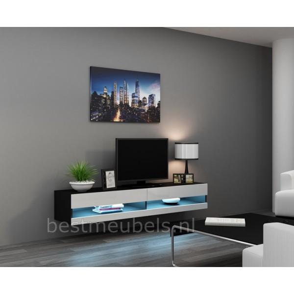 Tv Wandmeubel Kast.Verdi 9 Nieuw 180cm Zwevend Tv Meubel Tv Kast Hoogglans Zwevende