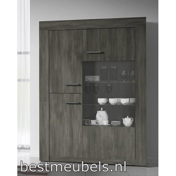 Vitrinekast Wandkast TORONTO 1 - 125 cm breed Vitrines Woonkamer-Best