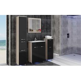Badkamermeubelserie OMI sonoma eiken - hoogglans zwart