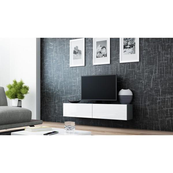 zwevend tv meubel hoogglans grijs tv kast verdi 4 140cm verdi tv wandmeubels best. Black Bedroom Furniture Sets. Home Design Ideas