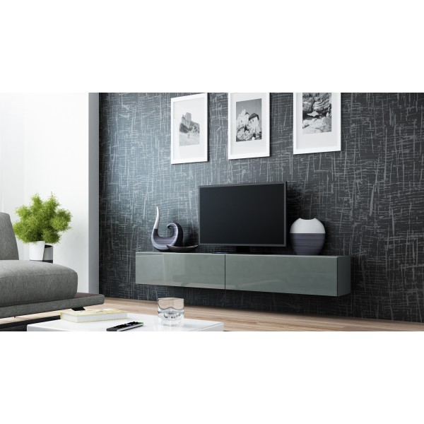 zwevend tv meubel verdi 1 hoogglans grijs tv kast 180cm verdi tv wandmeubels best. Black Bedroom Furniture Sets. Home Design Ideas