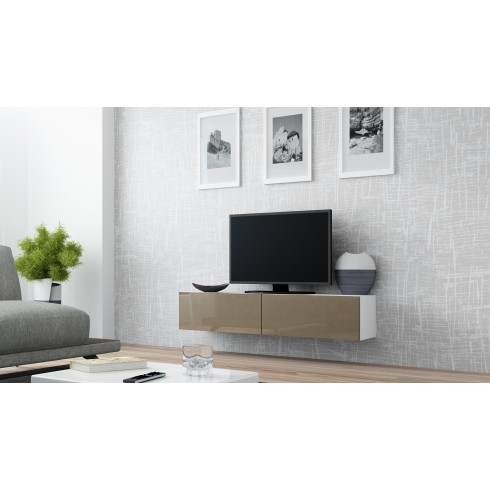 Zwevend Tv-Meubel Hoogglans Bruin VERDI 4 , Tv-kast 140 cm