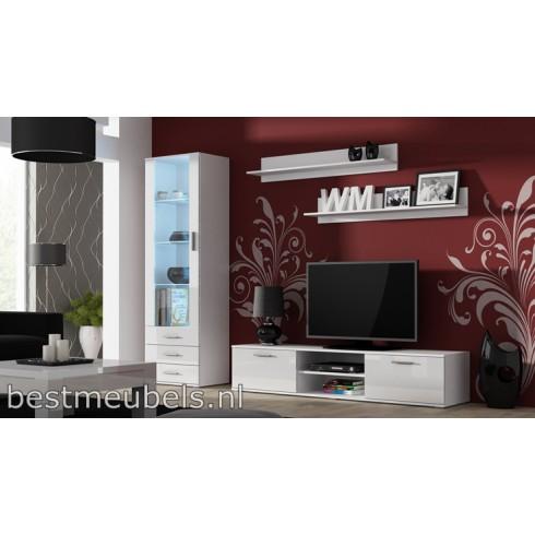 SORRENTO 1 Tv-Wandmeubel Hoogglans Wit, Zwart