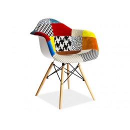 Kunststof stoel LINO met Patchwork gestoffeerd