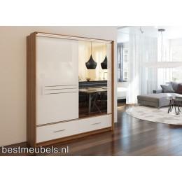 AMARO Hoogglans Schuifdeurkast met spiegel  208 cm