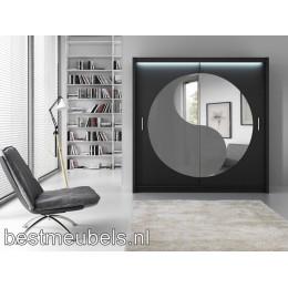 LIVARO Kledingkast met schuifdeuren en spiegel 203 cm