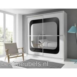 MADERA Schuifdeurkast met spiegel 203 cm