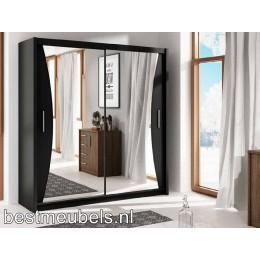 UDEN Graderobekast met schuifdeuren en spiegel 203 cm
