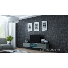 VERDI 10 NIEUW Zwevend Tv-Meubel Hoogglans GRIJS Tv-kast 180 cm