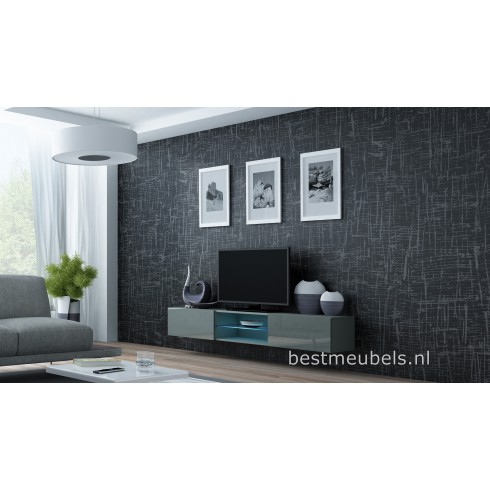 zwevend tv meubel hoogglans grijs. Black Bedroom Furniture Sets. Home Design Ideas